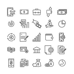 Simple set of banking related outline icons.