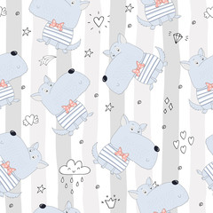 seamless pattern with cute dog. Vector Illustration