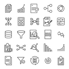 Modern outline style analytic icons collection.