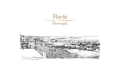 Hand Drawn sketch of Matosinhos Porto, Portugal in vector illustration.