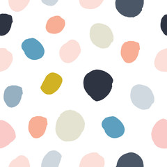Pastel powder pink, navy blue, salmon, beige, grey watercolor hand painted polka dot seamless pattern on white background. Acrylic ink circles, confetti round texture. Abstract vector, greeting cards.