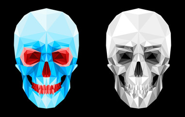Human skull of the faces. The glass effect. Red eye sockets and teeth. Scary spooky look. Suitable for Halloween. Isolated objects on a black background. Vector graphics.