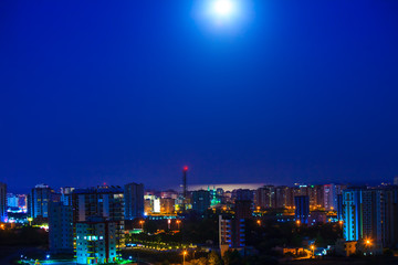City Night View With Moon