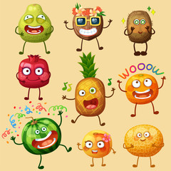 Funny fruit characters isolated on white background. Cheerful food emoji. Cartoon vector illustration: pomelo, coconut, kiwi, pomegranate, pineapple, orange, watermelon, peach, melon