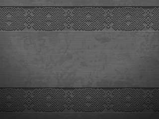 Vector grunge rough dark metal background with scandinavian pattern. Iron material brutal ethnic geometric pattern in norwegian style. Slavic pagan design. Blacksmith viking epic legendary impression.
