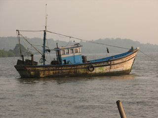 Colorful fishing boats in a fishing port in