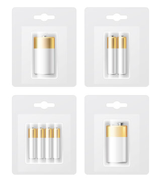 Vector set of realistic battery types in blister pack