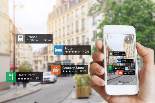 Augmented Reality information technology, hand, smartphone screen, street business, services