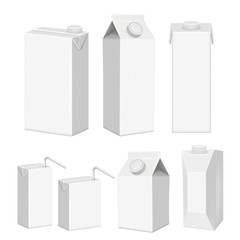 Vector realistic white blank juice carton package template set