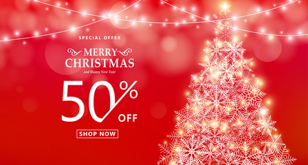 Christmas sale banner. Special offer, discount type text, 50 off