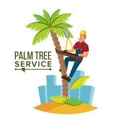 Palm Tree Trimming Vector. Trimming Tree Or Removal To Tree Pruning. Cartoon Character Illustration