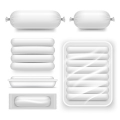 Vector realistic blank white sausage pack set