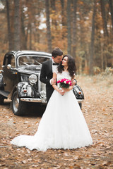 Beautiful wedding couple posing near splendid retro car