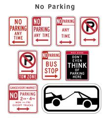 Regulatory traffic sign. No Parking. Vector illustration.