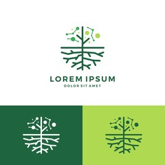 digital tree and root logo