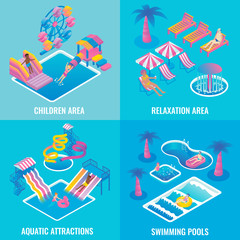Water park vector flat isometric poster set