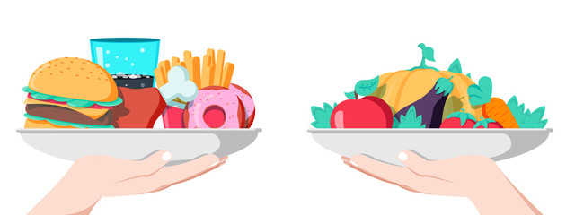 Food choice concept. Two hands with healthy and fresh vegetables and junk unhealthy fast food.