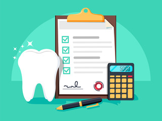 Dental insurance, dental care concept. Dental insurance form, tooth, calculator, pen flat design graphic elements