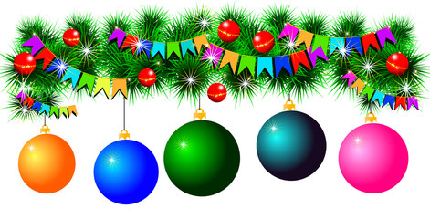 fir-tree garland with balls and flags