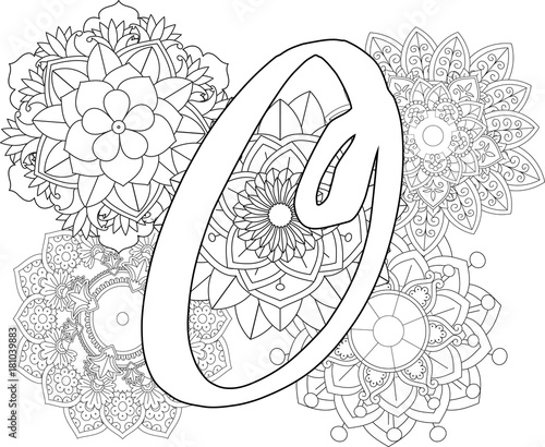 Mandala O Monogramlogo Doodle Floral Letters Coloring Book For Adult