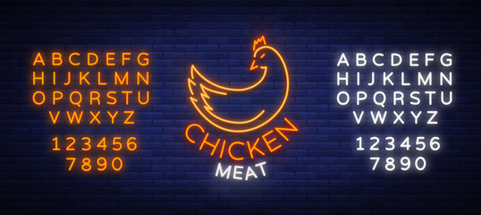 Logo Chicken meat, emblem, sign in neon style isolated, vector illustration. Neon banner, bright neon sign, glowing night advertisement, chicken meat, barbecue, grill. Editing text neon sign