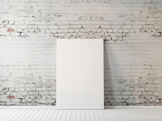 Blank poster mockup in interior 3d rendering