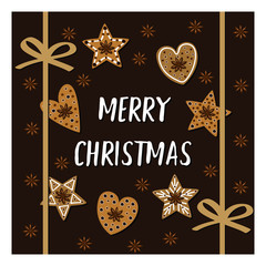 Merry Christmas card with cookies