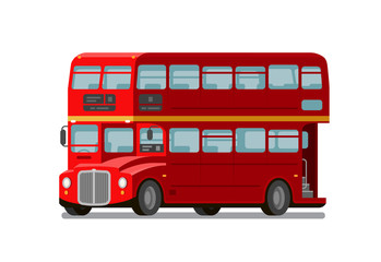 London double-decker red bus. England symbol. Vector flat illustration