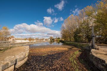 Poster Channel Canal de Castilla, famous Landmark in Fromista, Palencia, Castilla y Leon, Spain.