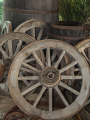 Group of Antique Wooden Chariot Wheels, Indoor
