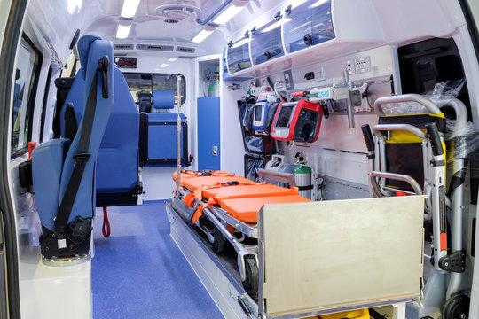 Inside ambulance car