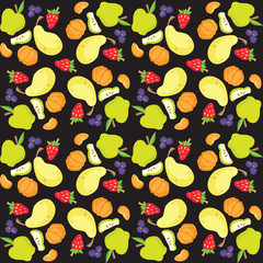 Vector illustration of fruit and berry pattern