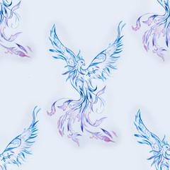 Seamless pattern of a beautiful blue phoenix on a white background.