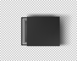 Black empty box mock up on transparent background. Top view. Template for your presentation design, banner, brochure or poster. Vector illustration