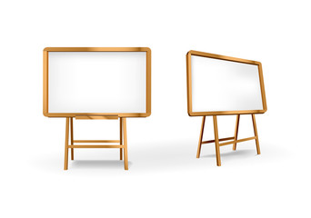 Empty Blank Vector wooden board. Easel construction for design, school, advertising