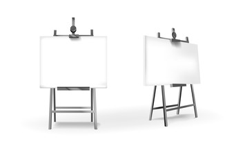 Empty Blank Vector metallic Easel with Horizontal Canvas for your design