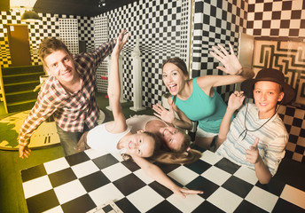 Ordinary family is visiting of escaperoom