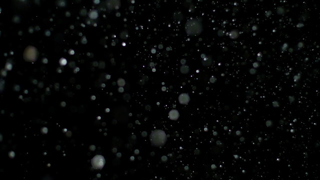 Snowfall Bokeh Lights on Black Background, Shot of Flying Snowflakes in the Air
