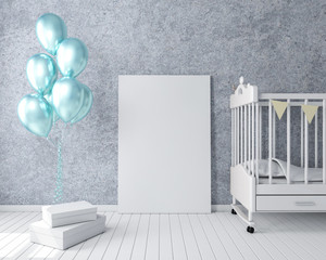 Poster blank mockup with gold balloons in modern interior, frame greeting card 3d rendering