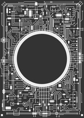 Chipset digital background isolated on black. CPU technology concept. Vector black and white vertical illustration.
