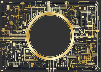 Gold chipset digital background isolated on black. CPU technology concept. Vector horizontal illustration.