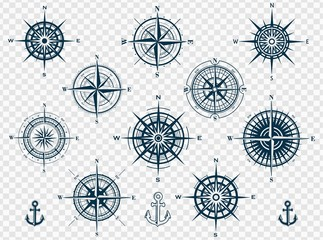 Set of wind roses silhouettes on transparent background. Compass vector illustrations.