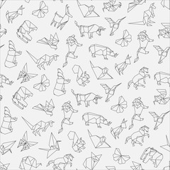 Vector illustration of seamless pattern of origami animals