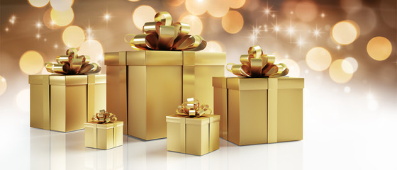 5 Geschenkpäckchen in Gold
