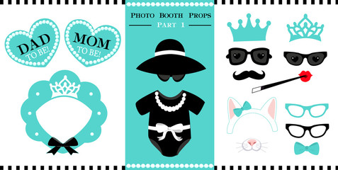 Set of  photo booth printable props for bridal, baby shower, birthday party and wedding in vintage style. Vector frame of bonnet shape. Little baby black dress - bodysuit.
