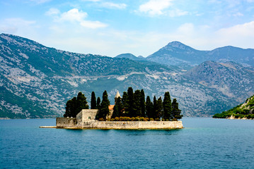 Island of Saint George is one of the two islets off the coast of Perast in Bay of Kotor, Montenegro