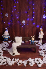 christmas decoration with vintage toys