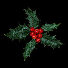 Christmas holly berry embroidery patch. New year fashion decoration realistic stitch texture design. Vintage traditional textile print vector illustration
