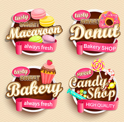 Set of Food Labels or Stickers - macaroon, donut, bakery, candy shop - Design Template. Vector illustration.