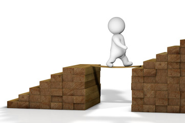 3D abstract businessperson character on career staircase leading to success.